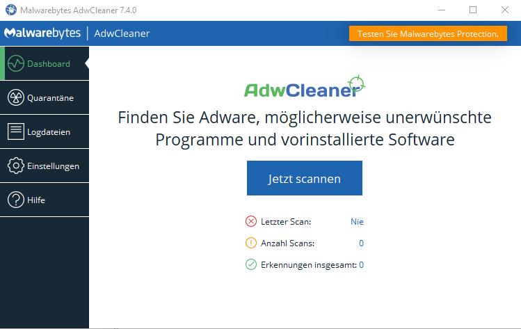 ADWCleaner Benutzeroberfläche