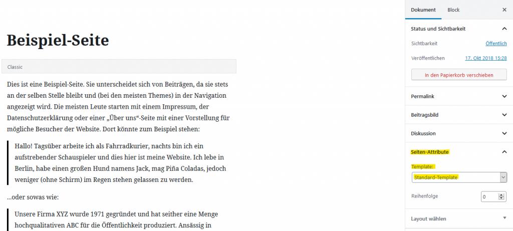 Wordpress Seiten Editor